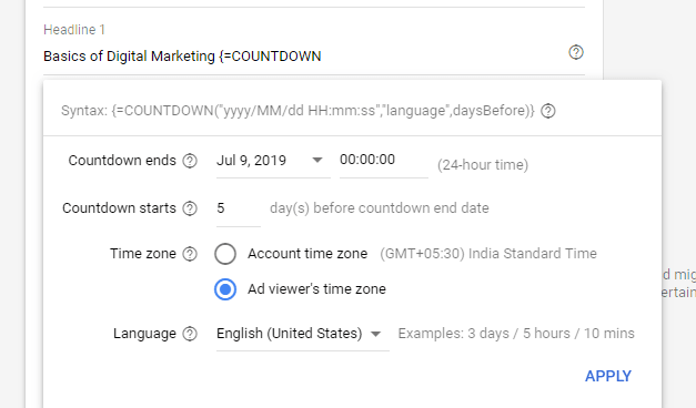 countdown timer in google ad