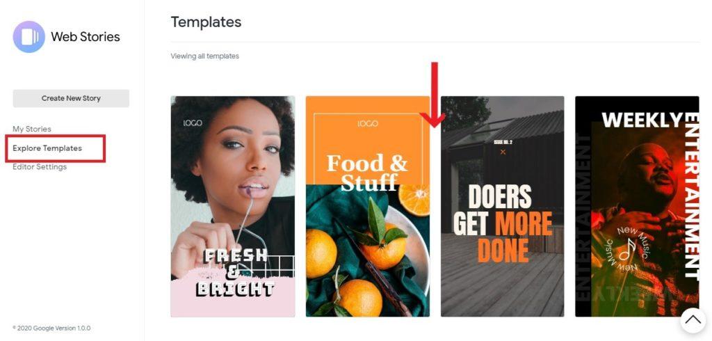 Explore templates Google web stories